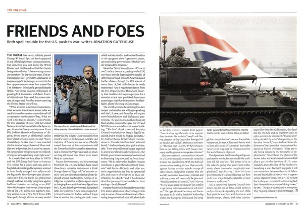 Article Preview: FRIENDS AND FOES, February 2003 | Maclean's