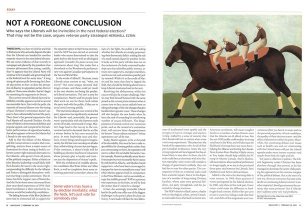 Article Preview: NOT A FOREGONE CONCLUSION, February 2003 | Maclean's