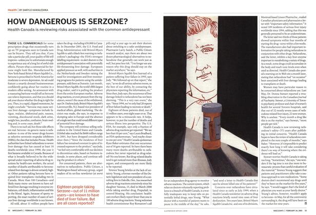 Article Preview: HOW DANGEROUS IS SERZONE?, February 2003   Maclean's