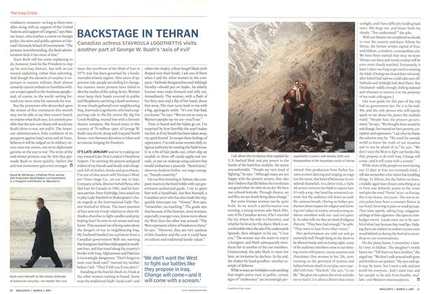 Article Preview: BACKSTAGE IN TEHRAN, March 2003 | Maclean's