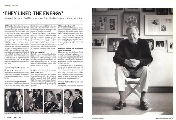 Article Preview: 'THEY LIKED THE ENERGY', March 2003 | Maclean's