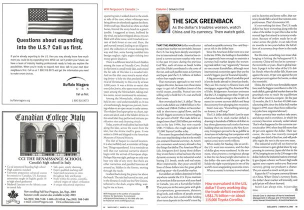 Article Preview: THE SICK GREENBACK, March 2003 | Maclean's