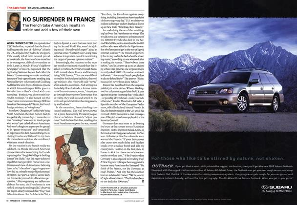 Article Preview: NO SURRENDER IN FRANCE, March 2003   Maclean's