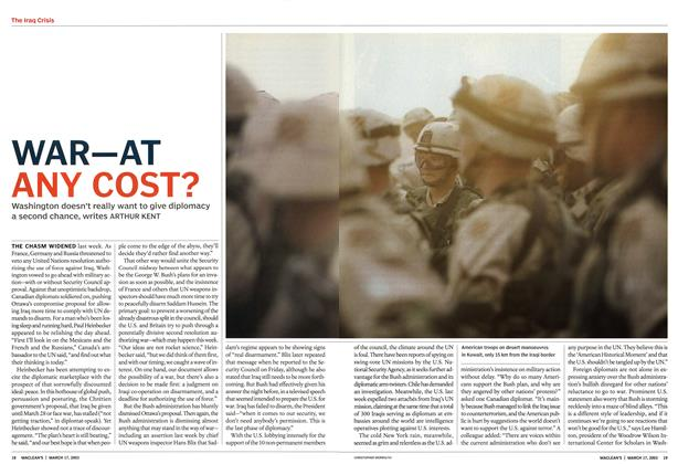 Article Preview: WAR—AT ANY COST?, March 2003 | Maclean's