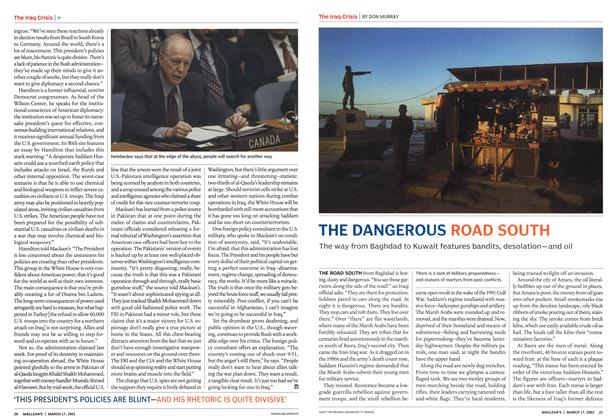 Article Preview: THE DANGEROUS ROAD SOUTH, March 2003 | Maclean's