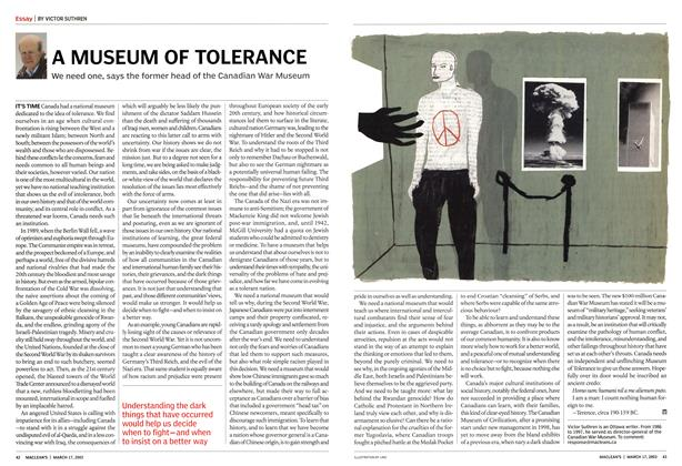 Article Preview: A MUSEUM OF TOLERANCE, March 2003 | Maclean's