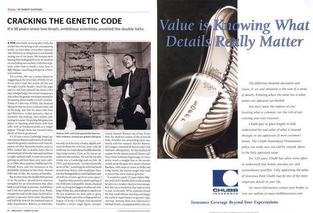 Article Preview: CRACKING THE GENETIC CODE, March 2003 | Maclean's