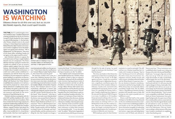 Article Preview: WASHINGTON IS WATCHING, March 2003 | Maclean's