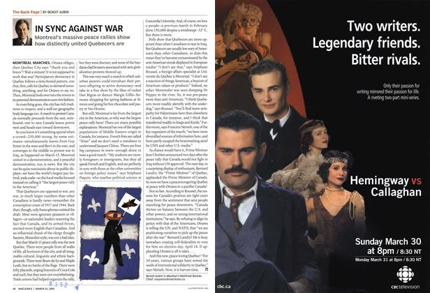 Article Preview: IN SYNC AGAINST WAR, March 2003 | Maclean's
