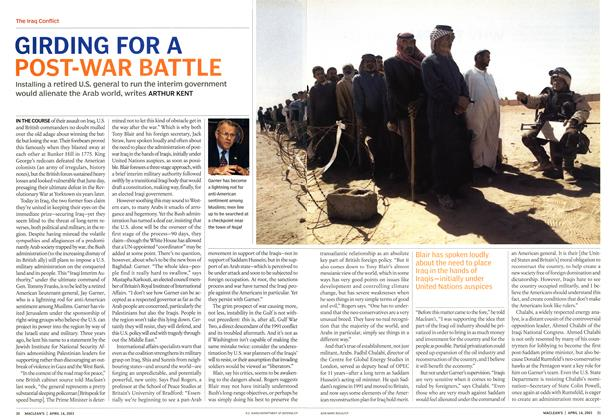 Article Preview: GIRDING FOR A POST-WAR BATTLE, April 2003 | Maclean's