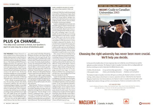 Article Preview: PLUS ÇA CHANGE..., April 2003 | Maclean's