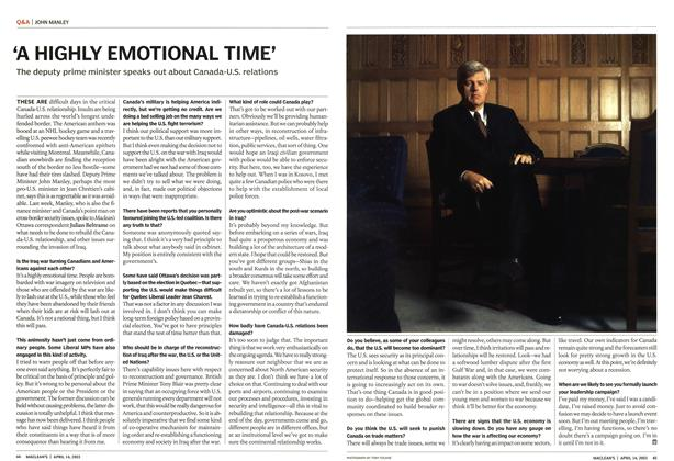 Article Preview: 'A HIGHLY EMOTIONAL TIME', April 2003 | Maclean's