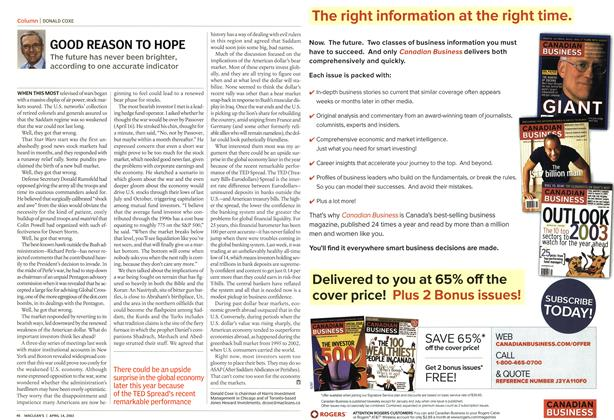 Article Preview: GOOD REASON TO HOPE, April 2003 | Maclean's