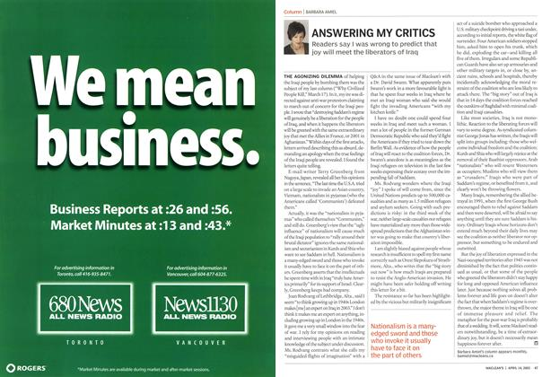 Article Preview: ANSWERING MY CRITICS, April 2003 | Maclean's