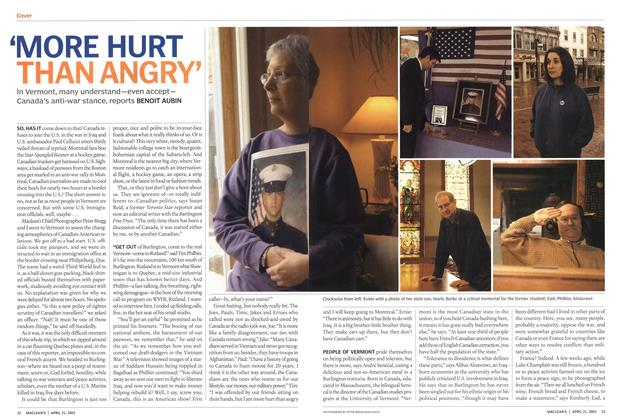 Article Preview: 'MORE HURT THAN ANGRY', April 2003 | Maclean's