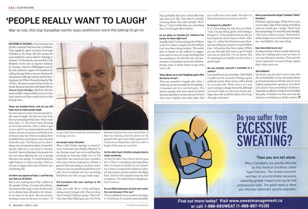 Article Preview: 'PEOPLE REALLY WANT TO LAUGH', April 2003 | Maclean's