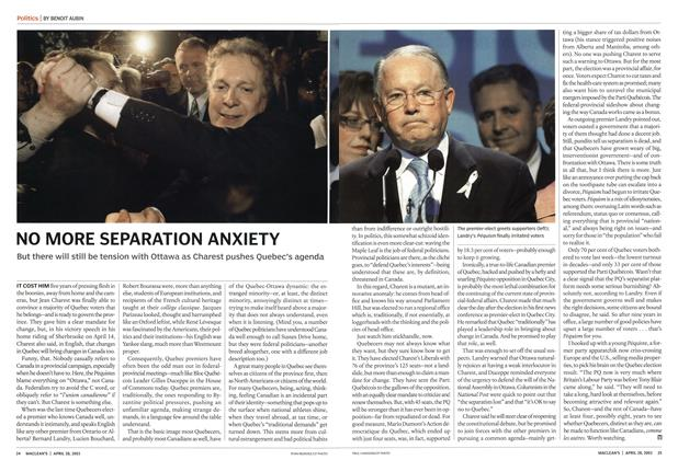 Article Preview: NO MORE SEPARATION ANXIETY, April 2003 | Maclean's