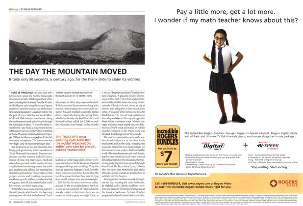 Article Preview: THE DAY THE MOUNTAIN MOVED, April 2003 | Maclean's
