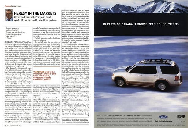 Article Preview: HERESY IN THE MARKETS, May 2003 | Maclean's