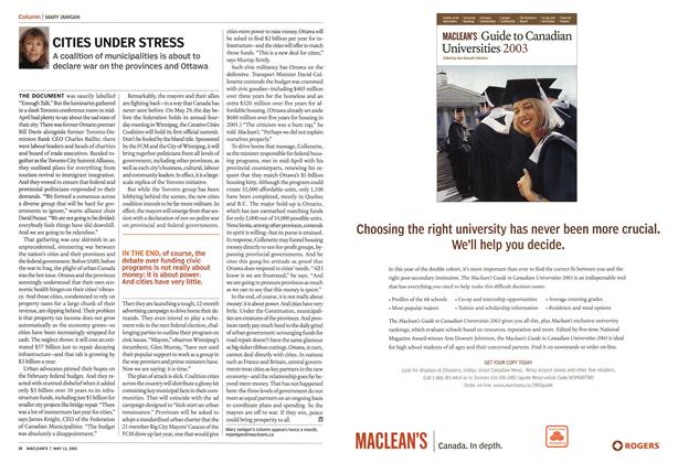 Article Preview: CITIES UNDER STRESS, May 2003 | Maclean's