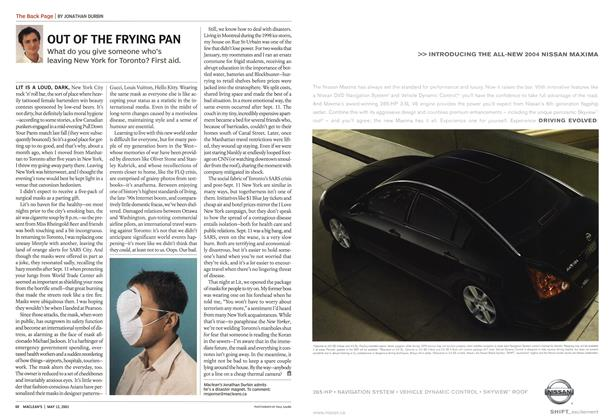 Article Preview: OUT OF THE FRYING PAN, May 2003 | Maclean's