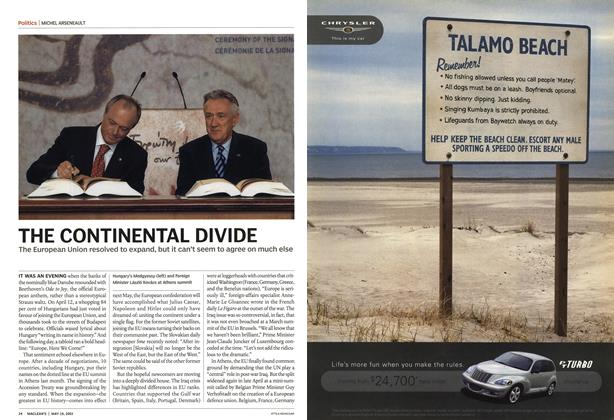 Article Preview: THE CONTINENTAL DIVIDE, May 2003 | Maclean's