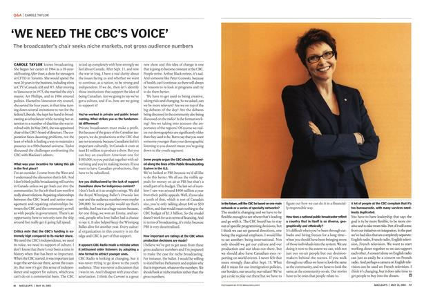 Article Preview: 'WE NEED THE CBC'S VOICE', May 2003 | Maclean's
