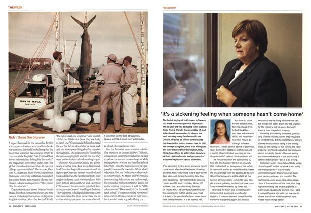 Article Preview: 'It's a sickening feeling when someone hasn't come home', May 2003 | Maclean's