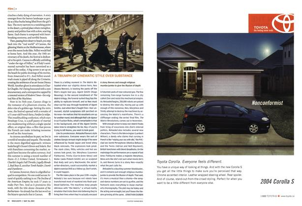 Article Preview: A TRIUMPH OF CINEMATIC STYLE OVER SUBSTANCE, May 2003 | Maclean's