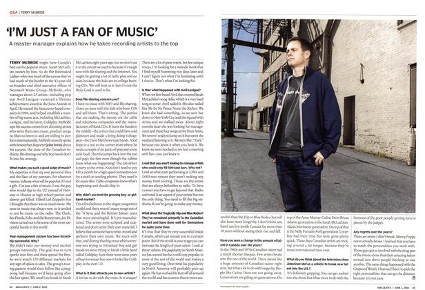 Article Preview: 'I'M JUST A FAN OF MUSIC', June 2003 | Maclean's