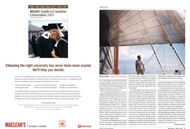Article Preview: Solo sailor, June 2003 | Maclean's