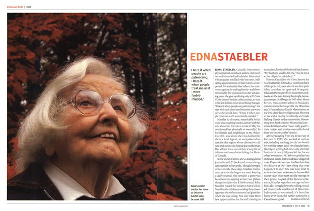 Article Preview: EDNA STAEBLER, July 2003 | Maclean's
