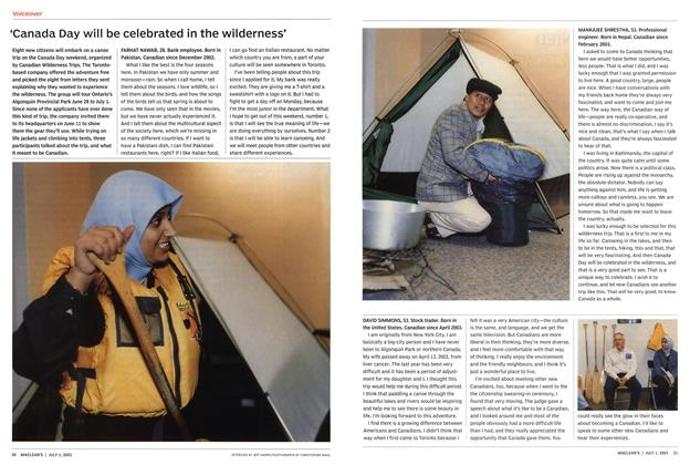Article Preview: 'Canada Day will be celebrated in the wilderness', July 2003 | Maclean's