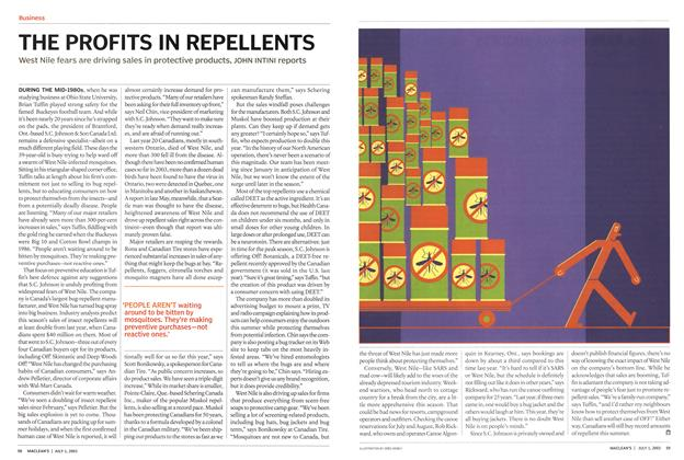 Article Preview: THE PROFITS IN REPELLENTS, July 2003 | Maclean's