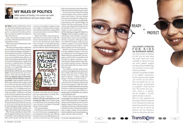 Article Preview: MY RULES OF POLITICS, July 2003 | Maclean's