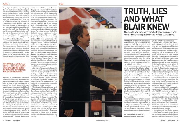 Article Preview: TRUTH, LIES AND WHAT BLAIR KNEW, August 2003 | Maclean's