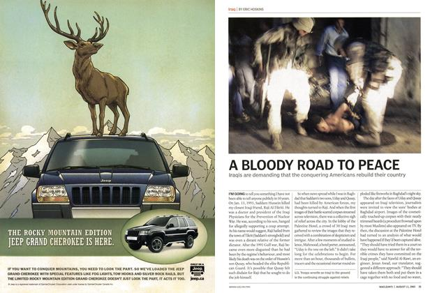 Article Preview: A BLOODY ROAD TO PEACE, August 2003 | Maclean's