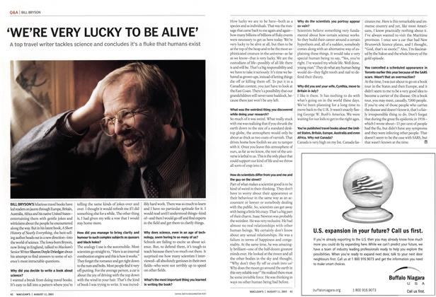 Article Preview: 'WE'RE VERY LUCKY TO BE ALIVE', August 2003 | Maclean's