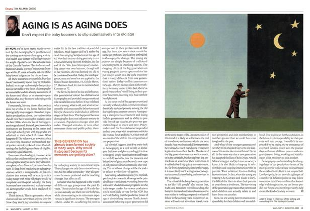 Article Preview: AGING IS AS AGING DOES, August 2003 | Maclean's
