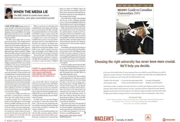 Article Preview: WHEN THE MEDIA LIE, August 2003 | Maclean's
