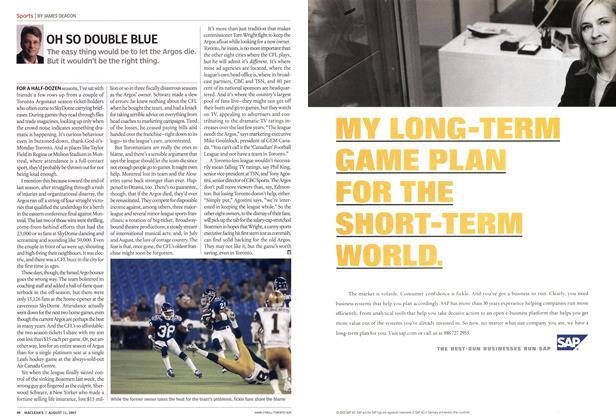 Article Preview: OH SO DOUBLE BLUE, August 2003 | Maclean's