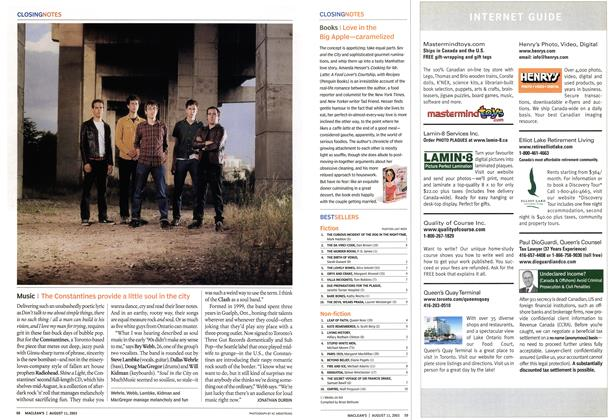 Article Preview: Music, August 2003 | Maclean's