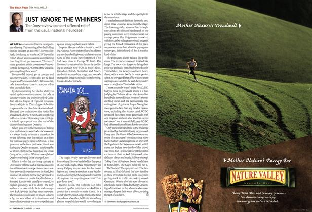 Article Preview: JUST IGNORE THE WHINERS, August 2003 | Maclean's