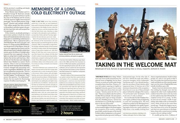Article Preview: TAKING IN THE WELCOME MAT, August 2003 | Maclean's