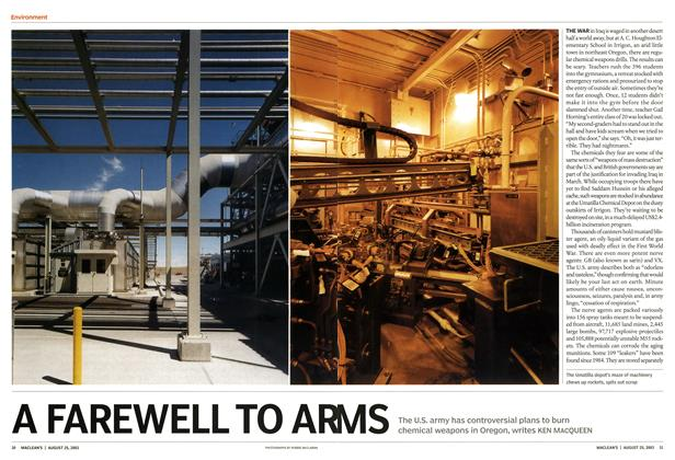 Article Preview: A FAREWELL TO ARMS, August 2003 | Maclean's