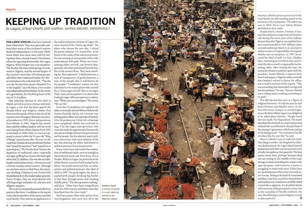 Article Preview: KEEPING UP TRADITION, September 2003 | Maclean's