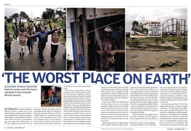 Article Preview: 'THE WORST PLACE ON EARTH', September 2003 | Maclean's