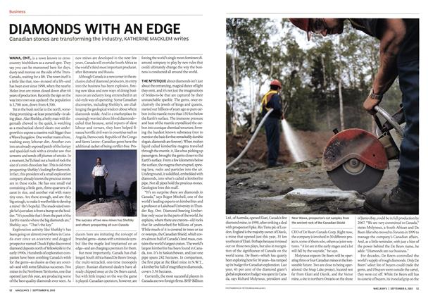 Article Preview: DIAMONDS WITH AN EDGE, September 2003 | Maclean's
