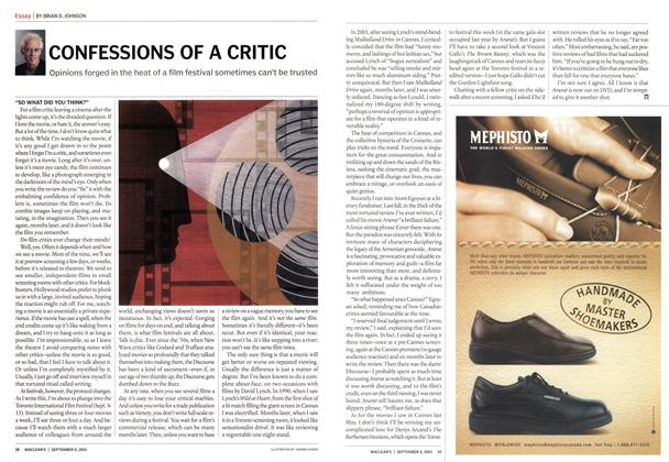 Article Preview: CONFESSIONS OF A CRITIC, September 2003 | Maclean's