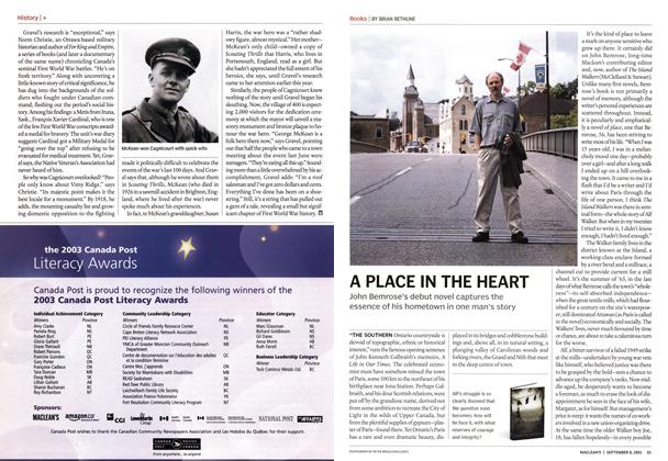 Article Preview: A PLACE IN THE HEART, September 2003 | Maclean's